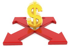 Dollar sign among the four arrows on white Stock Image
