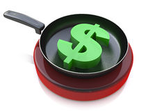 Dollar sign is fried in a pan Stock Image