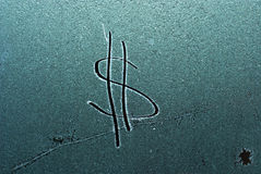 Dollar sign on frost. Picture  of a  dollar sign on frost Royalty Free Stock Photography