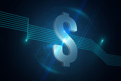 Dollar sign on futuristic background Stock Photos