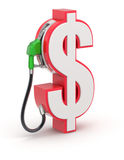 Dollar sign with gas nozzle Royalty Free Stock Photos