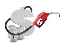 Dollar sign with a gas pump nozzle Royalty Free Stock Photo