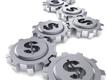Dollar sign gears.money works concept stock image