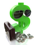 Dollar sign with glasses and a suitcase Royalty Free Stock Image
