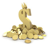 Dollar sign in gold coins Royalty Free Stock Photos