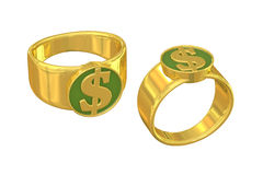 Dollar sign gold ring of wealth. Unique luxury golden ring with a dollar mark seal on it. Isolated on white background. Metaphor for materialism, money, power Royalty Free Stock Photography