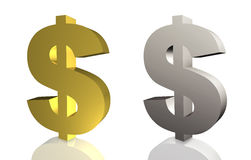 Dollar sign in gold and silver Stock Image