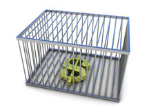 Dollar sign in golden cage Royalty Free Stock Photography