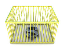 Dollar sign in golden cage Royalty Free Stock Photos