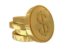 Dollar sign in golden coin royalty free illustration