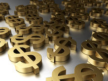 Dollar sign in the golden color. 3d background with dollars signs, golden colors Stock Photography