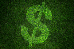 Dollar sign on grass. Large dollar sign on a fresh green grass as a background. Picture could be used as a background image in any financial concept stock images