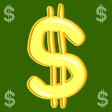 Dollar Sign on green Background. Hand draw dollar Sign on green Background Royalty Free Stock Photography