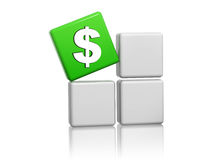 Dollar sign in green cube on grey boxes Stock Photo
