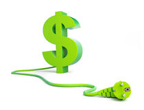 Dollar sign green power plug Royalty Free Stock Images