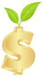 Dollar sign with a green sprout Royalty Free Stock Photos