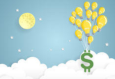 Dollar sign hanging with bulb balloon, business and finance Royalty Free Stock Photo