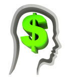 Dollar sign in head. Abstract 3d illustration of dollar sign in head, isolated over white Royalty Free Stock Photo