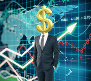 Dollar sign head forex background Stock Image