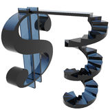 Dollar sign with helix stairs Royalty Free Stock Image