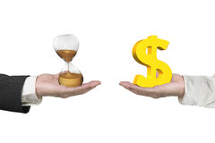 Dollar sign and hour glass with two hands. Dollar sign on one hand and hour glass on another hand, isolated on white, concept of deal and time royalty free stock images