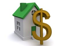 Dollar sign and house Royalty Free Stock Photography
