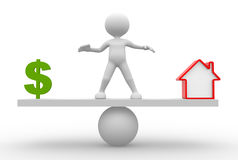 Dollar sign or house. 3d people - man, person in balance. Dollar sign or house Stock Image