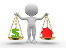 Dollar sign or house. 3d people - man, person with a dollar sign or a house in balance Stock Image