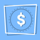 Dollar Sign Icon Currency Web Button. Flat Vector Illustration Stock Photography