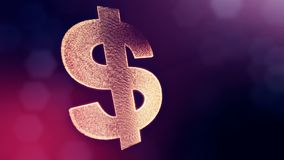 Dollar sign or dollar icon. Finance background of luminous particles. 3D loop animation with depth of field, bokeh and stock video