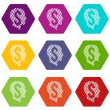 Dollar sign icons set 9 vector. Dollar sign icons 9 set coloful isolated on white for web Stock Photography