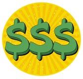 Dollar Sign illustration. Three green dollar sign illustration; Dollar symbol cartoon Royalty Free Stock Photography