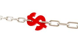 Dollar sign imprisoned in chains. On a white background Stock Images