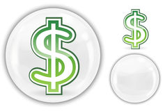 Dollar Sign In White Crystal Marble Ball Stock Photos