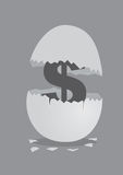 Dollar Sign Inside Cracked Egg Vector Illustration. Dollar sign symbol inside an cracked open egg. Vector illustration on money and financial concept  on grey Stock Image