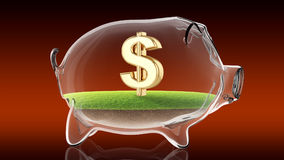 Dollar sign inside transparent piggy bank. 3d rendering Stock Images