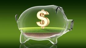 Dollar sign inside transparent piggy bank. 3d rendering Stock Photos