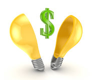 Dollar sign inside yellow lamp. Stock Image
