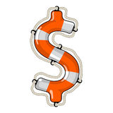 Dollar sign isolated lifebuoy Royalty Free Stock Images