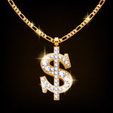 Dollar sign jewelry necklace on golden chain. Royalty Free Stock Photos