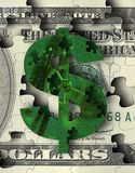 Dollar sign jigsaw puzzle. A dollar sign jigsaw puzzle with pieces to symbolize financial money solutions. 3D rendering Stock Image