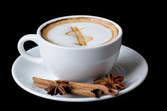 Dollar sign on latte art coffee cup Stock Photography