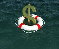 Dollar sign in a lifebuoy in the water Royalty Free Stock Image