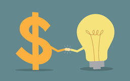Dollar sign and light bulb two fists punching each other Stock Photo
