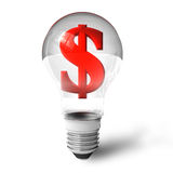 Dollar sign in lightbulb Royalty Free Stock Photography