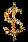 Dollar sign. Made of gold leaf isolated on black Stock Image
