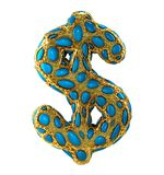 Dollar sign made of golden shining metallic 3D with blue glass isolated on white background. 3d rendering stock photo