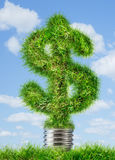 Dollar sign made of grass as lamp bulb Royalty Free Stock Image