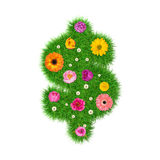 Dollar sign made of grass and colorful flowers, spring concept for graphic design collage.  Royalty Free Illustration
