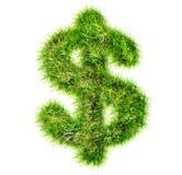 Dollar sign made of green grass. Dollar international sign made of green grass stock photo